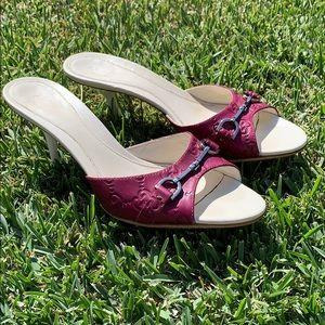 Gucci Purple Logo Mid Heel Horsebit Slide Mules 37